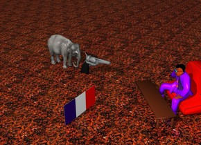 The Mexican is facing the French flag. The ground is lava. The sky is night. A huge pistol is three feet to the north of the Mexican. A small elephant is behind the huge pistol.