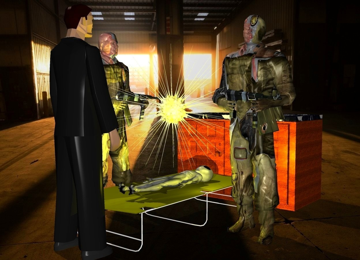 Input text: a olive cot.a 1st 6 feet tall soldier is left of the cot.a alien is -2 inches above the cot.the alien is face up.a 2nd 6 feet tall soldier is right of the cot.he is facing the cot.a shiny sun symbol is above the alien.room backdrop.a yellow light is right of the alien.a man is in front of the cot.he is facing the cot.a cabinet is behind the cot.