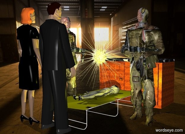 Input text: a olive cot.a 1st 6 feet tall soldier is left of the cot.a alien is -2 inches above the cot.the alien is face up.a 2nd 6 feet tall soldier is right of the cot.he is facing the cot.a shiny sun symbol is above the alien.room backdrop.a yellow light is right of the alien.a man is in front of the cot.he is facing the cot.a cabinet is behind the cot. a woman is left of the man. she faces back. her hair is orange spice.
