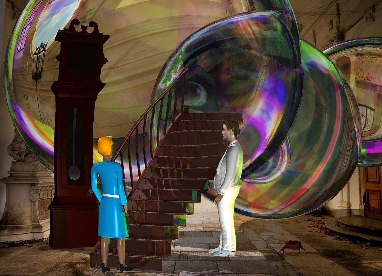 Input text: a clear cloud.the cloud is 100 feet deep.the cloud is 40 feet wide.the cloud is 30 feet tall.a shiny stairway is in front of the cloud.a woman is 1 inches in front of the stairway.she is facing the stairway.a white man is right of the stairway.he is facing the stairway.a rust light is 1 feet right of the man.fantasy sky.a large clock is 30 inches left of the stairway.a giant beetle is 1.5 feet right of the man.it is behind the man.the clock is facing southeast.a lime light is 2 inches above the beetle.the woman's hair is orange.