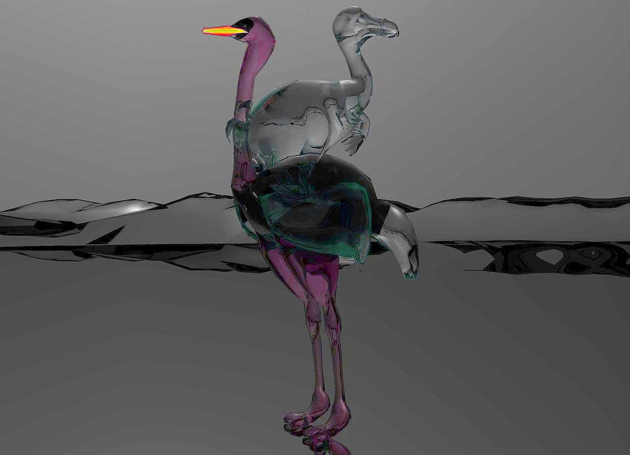 Input text: a 100 inch tall glass ostrich.sky is shiny black.ground is shiny black.ground is 50 feet tall and 500 feet deep.a 50 inch tall glass dodo is -45 inch above the ostrich.the dodo is facing north.