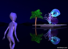 There is a reflective alien. The ground is shiny black. The sky is black. A reflective pool is 50 feet in front of the alien. the pool is 15 feet to the right of the alien. the pool is 3 feet in the ground. A very large pink light is above the pool. A small shiny green palm tree is to the right of the pool. a 12 foot tall reflective purple plant is 1 foot in the pool. a very giant purple shiny brain is 17 feet to the left of the palm tree. the brain is 1 foot above the ground. A 7 foot tall shiny cyan eye is 1 feet above the brain. the eye is facing the alien. The camera light is lavender. A very large cyan light is behind the pool. A large blue light is behind the palm tree. The sun is blue.