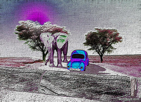nine 100 inch tall logs.a 150 inch tall red  car is 200 inch behind the logs.a 300 inch tall elephant is left of the car.