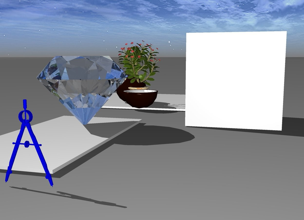Input text:  0.5 foot tall blue compass is 3 foot in front of coconut and -1.27 inch to right. cube is facing right.  0.75 foot tall light diamond is 0.8 foot in front of coconut and 1 foot in front of flower. 1 foot long square is 1 foot in front of flower and 1 foot in front of square. Flower is facing forward.