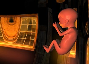 a silver cloud.the cloud is 150 feet deep.the cloud is 100 feet wide.the cloud is 80 feet tall.a giant infant is -40 feet above the cloud.a clear house is 6 feet right of the infant.a peach light is left of the house.a orange light is in front of the infant.camera light is dark.