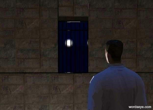 Input text:  a 2 foot tall matte black prison door is -.4 foot above and behind a 1st flat [brick] wall.  a 2nd flat [brick] wall is -10 feet left of and -.01 foot above the 1st wall. a 3rd flat [brick] wall is -9.1 feet right of and -.01 foot above the 1st wall.a 4th flat [brick] wall is 1.57 feet above the 1st wall. it leans 1 degree to the front. it is noon. sun is dark ink blue. ground is ink blue. sky is ink blue. a ghost white moon is 15 feet behind and -1 foot above the door. a ghost white light is in front of  the moon.  a 5 foot tall white smoke man is -4 foot above and in front of the 1st wall. he is -1.5 foot left of the 3rd wall. he faces the moon. camera light is black.  a big light is left of the man. ambient light is iron gray.