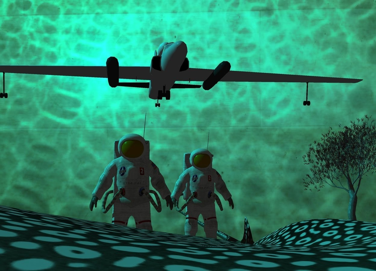 Input text: image-14399 backdrop. Cyan sun. An extremely tiny plane is 10 inch above and -6 inch behind a fish. A 10 inch high astronaut is -10 inch above and -22 inch left of the fish. Camera light is black. A 9 inch high astronaut is right of and behind the astronaut. A 1 foot high red tree is 1 foot right of and 6 inch behind the astronaut.