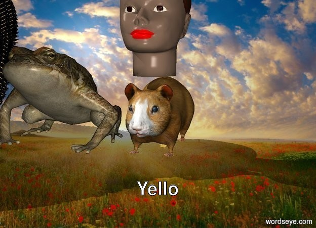 Input text: The  image  backdrop. Small head  on Small Hamster. small Cactus.   frog