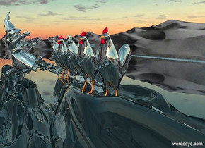 five 500 inch tall silver chickens.ground is clear..ground is 170 feet tall and 700 feet deep .the chickens are facing northwest.a 700 inch tall silver witch is 150 inch  behind the chickens.