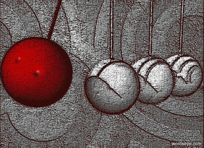 a  [texture]  backdrop.a 1st 15 inch tall and 15 inch deep shiny steel sphere.the backdrop is 50% dim gray.sky is black.a 1st 100 inch tall and 0.5 inch wide tube is  above the 1st sphere.a 2nd 15 inch tall and 15 inch deep shiny steel sphere is left of the 1st sphere.a 2nd 100 inch tall and 0.5 inch wide white tube is  above the 2nd sphere.a 3rd 15 inch tall and 15 inch deep shiny steel sphere is left of the 2nd sphere.a 3rd 100 inch tall and 0.5 inch wide tube is above the 3rd sphere.a 4th 15 inch tall and 15 inch deep and 15 inch wide  maroon sphere is 6 inch left of the 3rd sphere.the 4th sphere is -9 inch above the 3rd sphere.a 4th 100 inch tall and 0.5 inch wide maroon tube is -1 inch above the 4th sphere.the 4th tube leans 20 degrees to left.the 4th tube is -5 inch right of the 4th sphere.