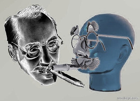 a 1st 120 inch tall head.sky is baby blue.ground is invisible.a 2nd 100 inch tall shiny red head is -30 inch right of the 1st head.the 2nd head is facing southwest.a 40 inch tall shiny black  groucho is -5 inch in front of the 2nd head.the groucho is facing southwest.the groucho is -70 inch above the 2nd head.the groucho is -95 inch right of the 2nd head.