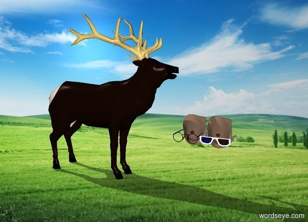Input text: breasts. glasses are on the breasts. glasses are 1 feet over the ground. breasts are 0.9 feet over the ground. small Elk faces the breasts.