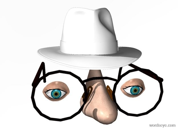 Input text: a 110 inch tall fedora.sky is white.ground is invisible.a 87 inch tall headwear is -195 inch above the fedora.a 90 inch tall and 60 inch wide and 120 inch deep nose is -55 inch in front of the headwear.a 1st 30 inch tall  eye is  30 inch in front of the headwear.the 1st eye is -38 inch above the headwear.the 1st eye is -60 inch left of the headwear.a 2nd 30 inch tall eye is 77 inch right of the 1st eye.
