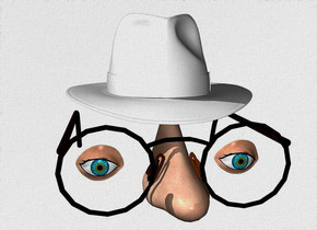 a 110 inch tall fedora.sky is white.ground is invisible.a 87 inch tall headwear is -195 inch above the fedora.a 90 inch tall and 60 inch wide and 120 inch deep nose is -55 inch in front of the headwear.a 1st 30 inch tall  eye is  30 inch in front of the headwear.the 1st eye is -38 inch above the headwear.the 1st eye is -60 inch left of the headwear.a 2nd 30 inch tall eye is 77 inch right of the 1st eye.