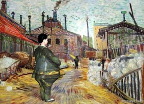 town backdrop.a man.the man's dress suit is [van gogh].pale shadow plane.the man's hair is black.