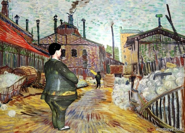 Input text: town backdrop.a man.the man's dress suit is [van gogh].pale shadow plane.the man's hair is black.