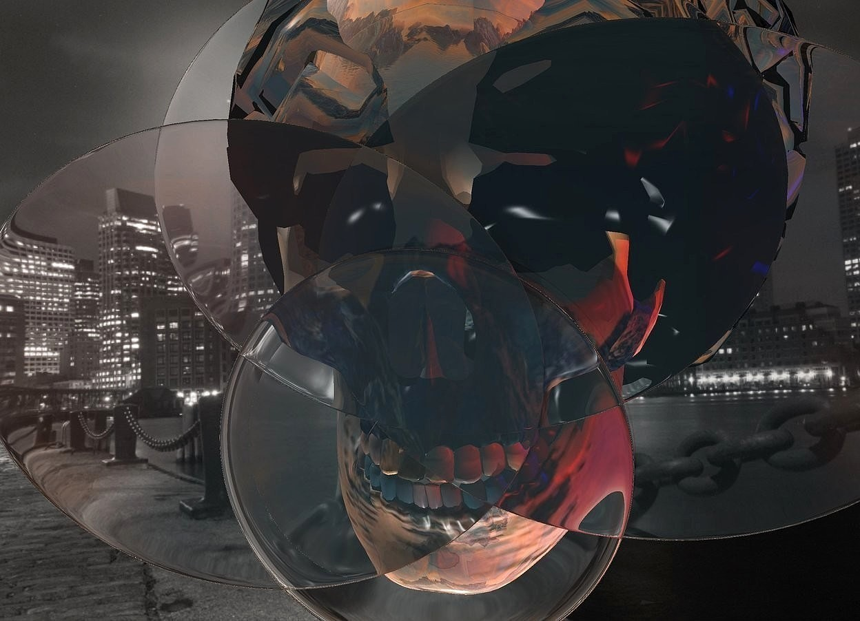 Input text: a large clear cloud.a shiny skull is behind the cloud.a blue light is right of the skull.a red light is right of the skull.fantasy sky.a yellow light is in front of the skull.linen sun.