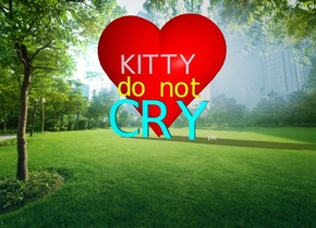 "There is a huge ""CRY"". A big ""do not"" is 5 inches above it. A big ""KITTY"" is 5 inches above it. A small bold ""plz"" is to the right of the ""CRY"".  The ""CRY"" is cyan. The ""KITTY"" is pink. The ""do not"" is yellow.  The ground is invisible. Cloud backdrop.  An enormous shining red heart is behind the ""CRY"" and 30 inches below the ground."