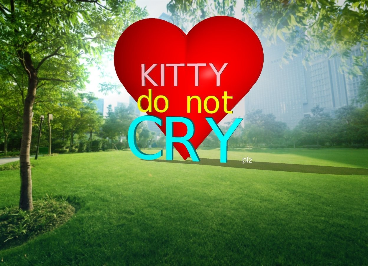 "Input text: There is a huge ""CRY"". A big ""do not"" is 5 inches above it. A big ""KITTY"" is 5 inches above it. A small bold ""plz"" is to the right of the ""CRY"".  The ""CRY"" is cyan. The ""KITTY"" is pink. The ""do not"" is yellow.  The ground is invisible. Cloud backdrop.  An enormous shining red heart is behind the ""CRY"" and 30 inches below the ground."