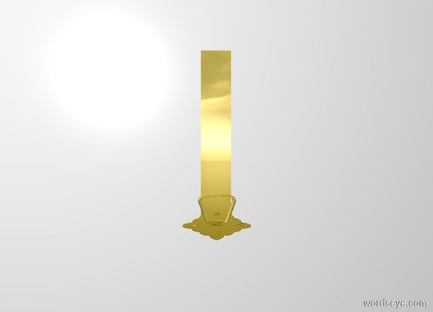 Input text: a 1.3 inch wide and .6 feet tall and .13 inch deep gold rectangle. a .6 inch deep and  2 inch tall and 3 inch wide gold door knocker. it is -.7 feet above and -.6 inch to the back of and -2.3 inch to the left of the rectangle.  it is upside down.white backdrop.