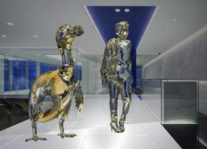 a 100 inch tall glass dodo.a 120 inch tall glass woman is 30 inch right of the dodo.a 1000 inch tall and 2000 inch wide clear flat wall is behind the dodo.it is night.sun is white.sky is cloud.