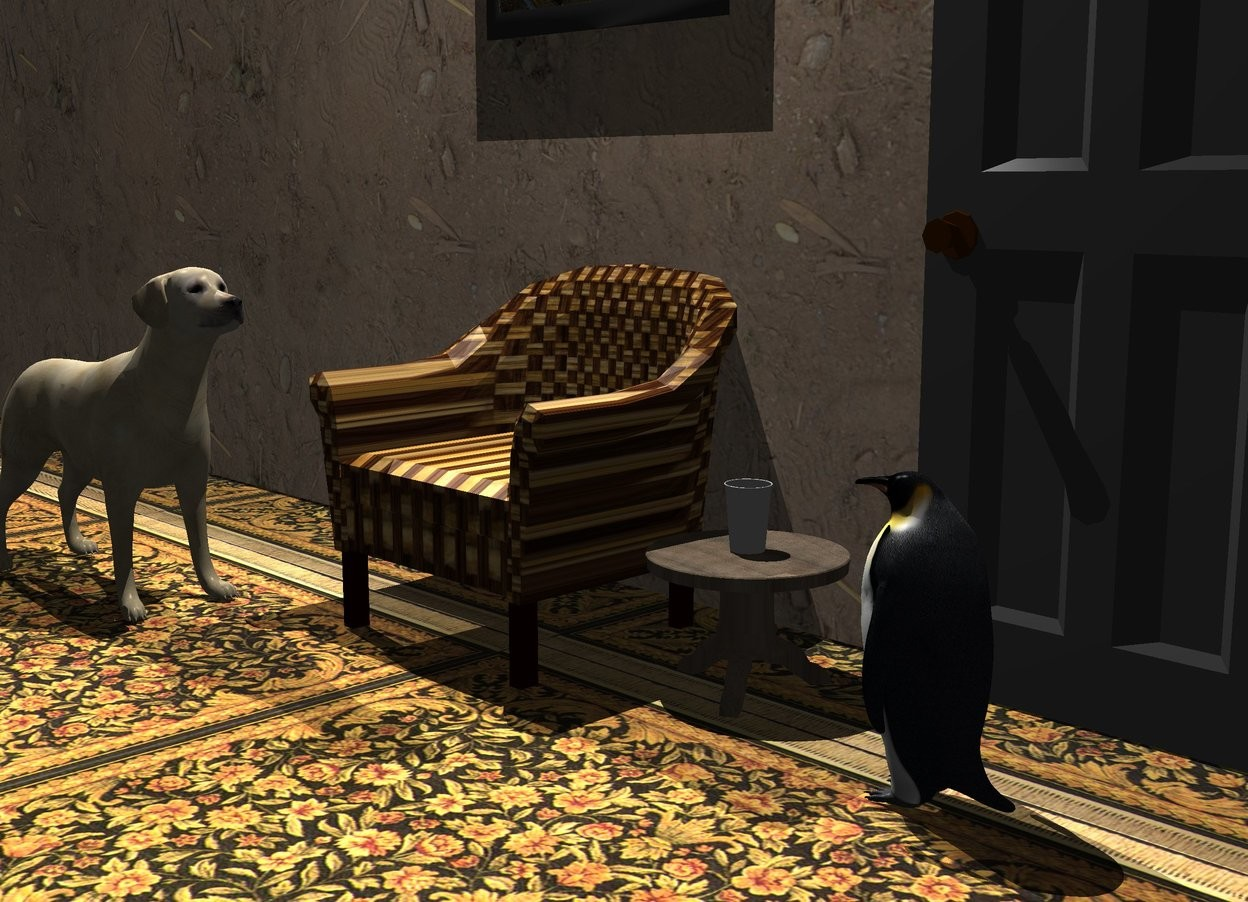 Input text: A chair is next to a small texture table. A long [dirt] wall is behind the chair. ground is [rug]. A 30% dark door is right of and behind the table. Camera light is black. A light is 5 feet above the chair. A painting is 2 feet left of and -2 feet above the door. A cup is on the table. A 3 feet high dog is left of and in front of the chair. An invisible penguin is 1.1 foot in front of the door. The dog is facing the penguin. A small penguin is 1 foot in front of the door. It is facing the dog