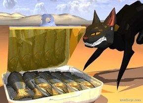 a sardines.a cat is left of the sardines.it is facing the sardines.fantasy ground.a orange light is 1 feet above the sardines.