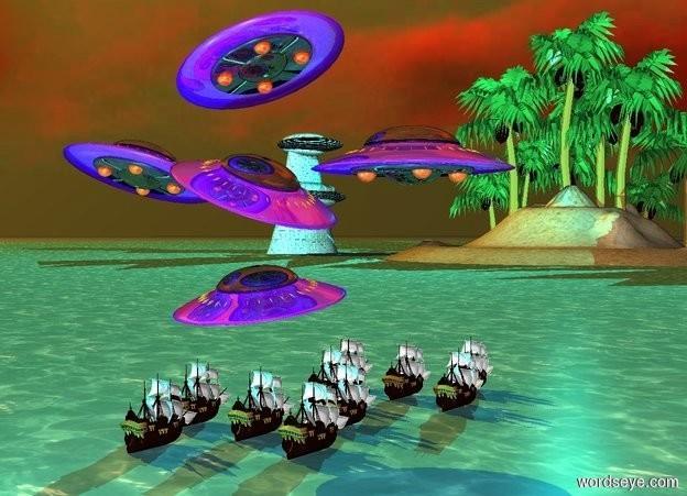 Input text: a sea.a 1st fleet.a tiny 2nd fleet is 1 feet above the 1st fleet.it is shiny.a island is 100 feet in front of the 1st fleet.it is right of the 1st fleet.the island is -5 feet above the sea.a aqua light is 6 feet behind the 1st fleet.a tower is 10 feet right of the island.the sky is cloud.the sky is upside down.orange sun.it is morning.a cyan light is above the island.a 3rd fleet is in front of the 1st fleet.