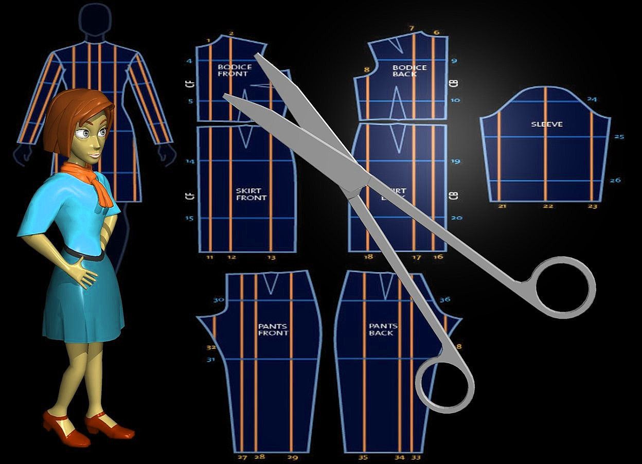 Input text: a  20 inch tall shiny gray scissors.sky is black.ground is invisible.the scissors leans 45 degrees to left.a [diy] backdrop.a 20 inch tall  woman is 3.5 inch right of the scissors.the shirt  of the woman is turquoise.the woman is facing the scissors.the skirt of the woman is 50% dim turquoise.the woman is -25 inch above the scissors.