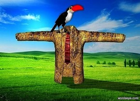 a 100 inch tall compound object.a 40 inch tall toucan is -11 inch above the compound object.the toucan is -16 inch in front of the compound object.the coat of the compound object is 100 inch wide [straw].the necktie of the compound object is super red.the beak of the toucan is super red.the toucan is facing southeast.