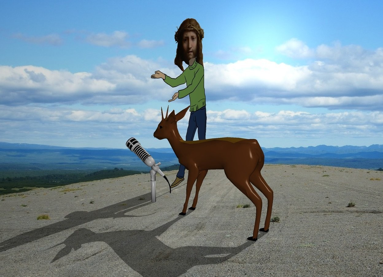 Input text: a deer is singing in a big microphone. the deer stands behind the microphone. the microphone is turned. jesus stands next to the microphone. background is bright.