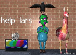 """large crow on a polka dot shepherd in front of a large brick wall. a huge rat is 1 foot from the crow. a meat alpaca is one foot to the right of the shepherd. the rat is on a television. small """"help lars"""" is one foot above the rat."""