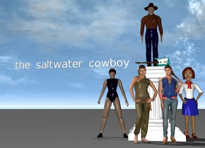 "cowboy on a pedestal. crowds of girls are in front of the pedestal.  an acoustic guitar is on another pedestal. crowds of girls are in front of the pedestal. a woman is to the right of the pedestal. a woman is to the left of the pedestal. small ""the saltwater cowboy"" a foot to the left of the cowboy."