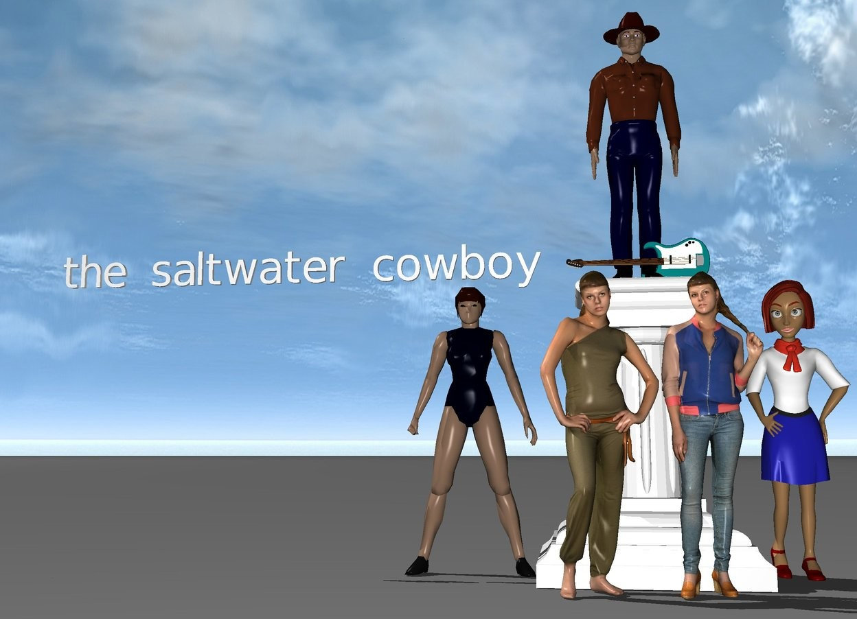 "Input text: cowboy on a pedestal. crowds of girls are in front of the pedestal.  an acoustic guitar is on another pedestal. crowds of girls are in front of the pedestal. a woman is to the right of the pedestal. a woman is to the left of the pedestal. small ""the saltwater cowboy"" a foot to the left of the cowboy."