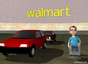 "boy behind a cart. parking lot. a car five feet to the left of the boy. a car five feet behind the car. grey brick wall in the background. the sky is brick. large yellow ""walmart"" 5 feet above the car."