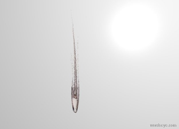 Input text: THE WHITE BACKDROP. There is a 10 upside down 10 foot tall 10 inch wide 10 inch thick transparent jellyfish.