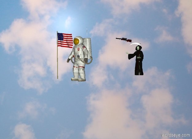 Input text: The  space  backdrop. the rifle is in front of the grim reaper. the flag is to left of the astronaut. the grim reaper is 10 feet behind the astronaut. the rifle is over the grim reaper