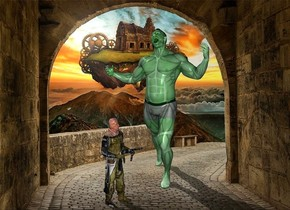 a person.fantasy backdrop.the person is 85% green.a 3 feet tall soldier is 1 feet in front of the person.