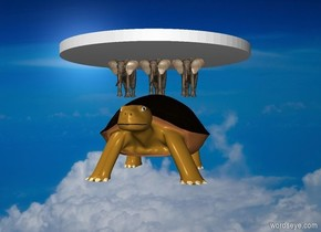 The  space  backdrop. Three microscopic elephants stand on top of the giant turtle. Very big disk is on top of elephants