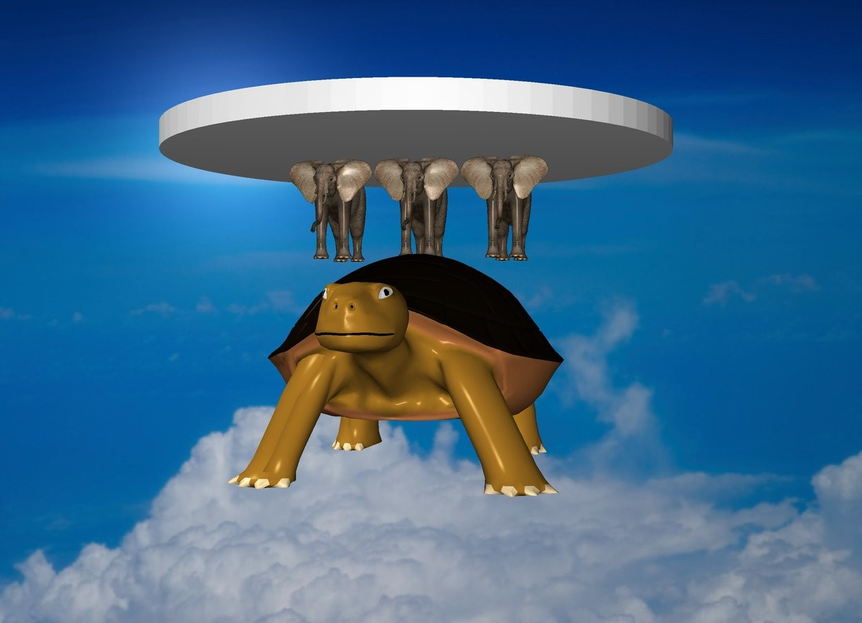 Input text: The  space  backdrop. Three microscopic elephants stand on top of the giant turtle. Very big disk is on top of elephants
