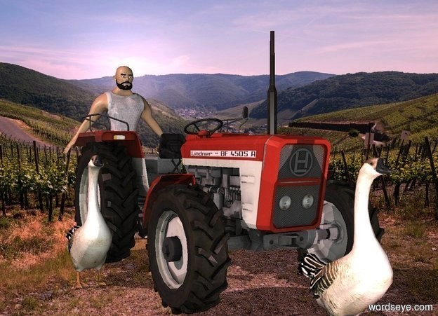 Input text: a tractor.farm backdrop.a 4 feet tall man is behind the tractor.a 1st goose is in front of the tractor.a 2nd goose is left of the tractor.pink sun.a pink light is in front of the 1st goose.