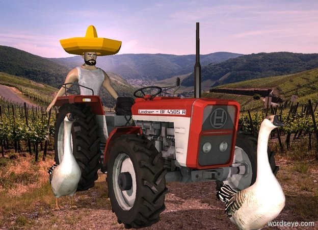 Input text: a tractor.farm backdrop.a 4 feet tall man is behind the tractor.a 1st goose is in front of the tractor.a 2nd goose is left of the tractor.pink sun.a pink light is in front of the 1st goose. a hat is -.2 foot above the man.