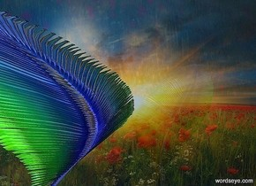 a huge shiny feather is .8 foot tall and 1 foot deep. it is 3 feet above the ground.  backdrop is [sky].  sky is [sky].  a clear flat wall is behind and -4 feet above the feather.