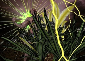 a 1st grass.a man is behind the 1st grass.a lime light is above the man.a 15 feet tall sun symbol is behind the man.a 6 feet tall shiny lightning bolt is in front of the grass.storm backdrop.