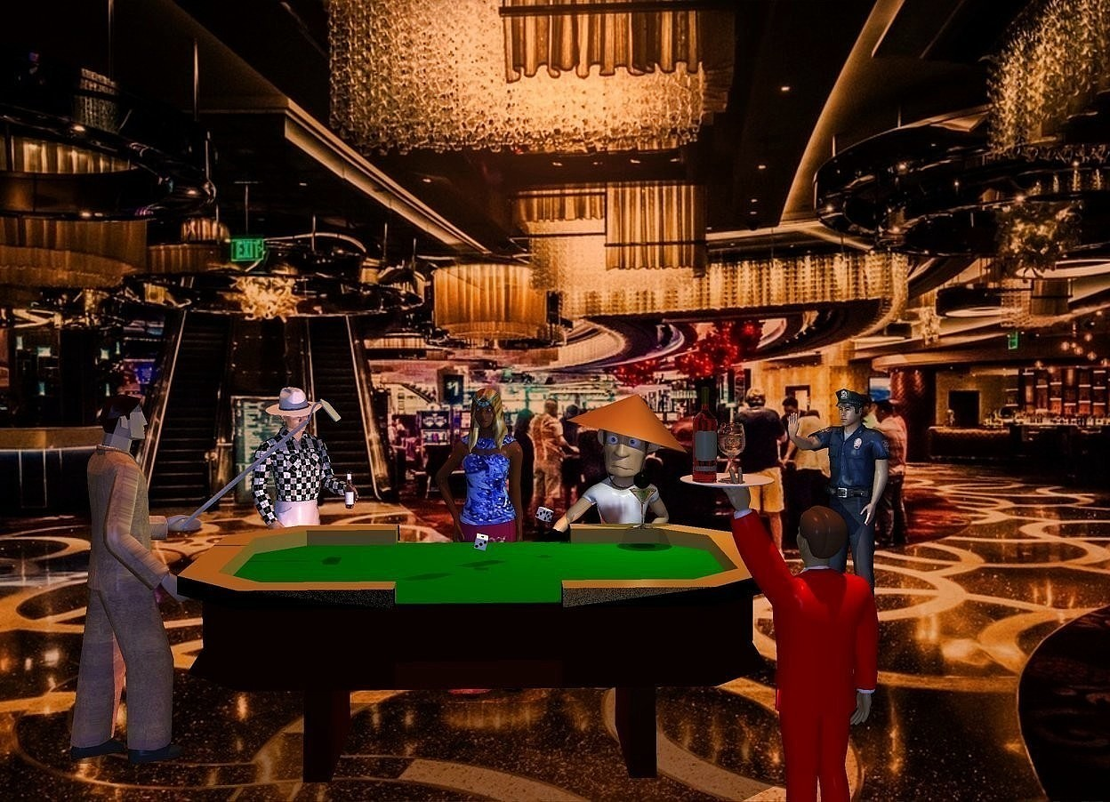 Input text: a casino backdrop. a craps table. the surface of the table is  green. a 4.5 feet tall woman is behind the table. the shirt of the woman is flower. the hair of the woman is [hair]. 1st .15 feet tall die is .18 inch above and -3.6 feet left of  the table. it leans southwest. 2nd .15 feet tall die is .6 feet right of and .6 feet behind and .007 inch above the 1st die. it faces southwest. it leans northwest. a 4.6 feet tall man is -.6 feet left of the table. he faces the woman. the suit of the man is texture. a 2.5 feet tall [metal] hoe is -2 feet above and -1.1 feet right of and -.9 feet behind the man. it faces right. it leans 50 degrees to the front. 2nd 4.3 feet tall man is 4.2  feet right of and 1.2 feet behind the woman. he faces southwest. 3rd 4.4 feet tall man is right of the woman. the glove of the man is black. 4th 4 feet tall man is in front of and -1 feet right of the table. he faces the 3rd man. 5th 4.4 feet tall man is 1 feet left of and .1 feet behind the woman. he faces the 4th man. a .6 feet tall brown bottle is -.9 feet in front of and -.47 feet right of and -1.9 feet above the 5th man. a plate is -.21 feet above and -.65 feet left of the 4th man. a bottle is on  and -.4 feet left of the plate. 1st glass is right of the bottle. the hat of the 5th man is linen. the shirt of the 3rd man is pattern. the fat suit of the 4th man is red. a lavender light is on the plate. it is noon. the sun is old gold. shadow plane. 2nd .53 feet tall glass is .05 feet in front of and -1.8 feet above and -.97 feet right of the 3rd man. a olive fits in the 2nd glass. a sage green light is on the olive. the camera light is cobalt blue. a coral light is in front of the woman.