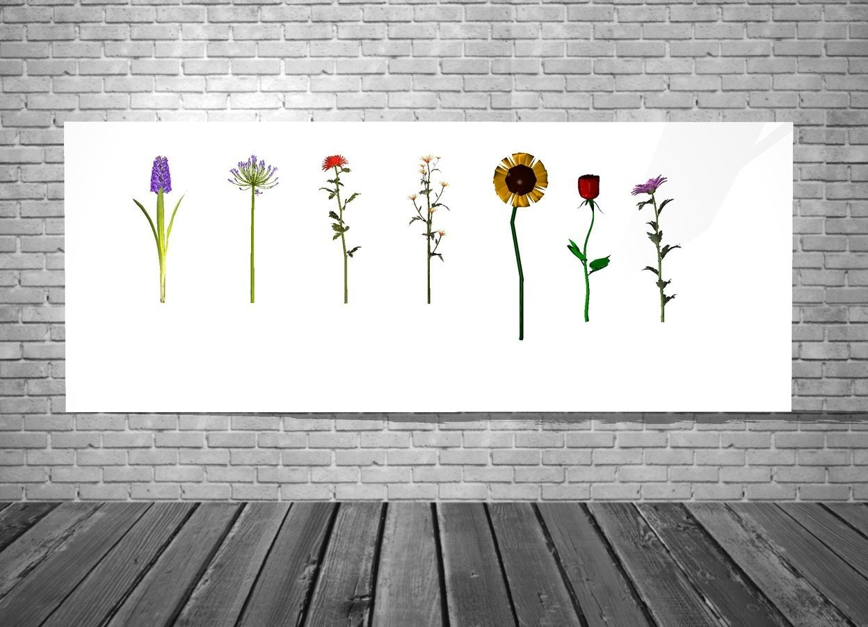 Input text: the 1st wall is white. the 1st giant flower is in front of the wall. the 1st giant flower is three feet above the ground. the 2nd giant flower is one foot to the left of the 1st giant flower. the 3rd flower is one foot to the right of the 1st giant flower. the 3rd flower is 2 feet above the ground. the 4th giant flower is one foot to the right of the 3rd  flower. the 5th giant flower is one foot to the left of the 2nd giant flower. the 6th giant flower is one foot to the left of the 5th giant flower. the 7th giant flower is one foot to the right of the 4th giant flower. the 7th flower is 2.5 feet above the ground. the 4th flower is 2.5 feet above the ground. the light is in front of the 1st wall. the backdrop is wall.