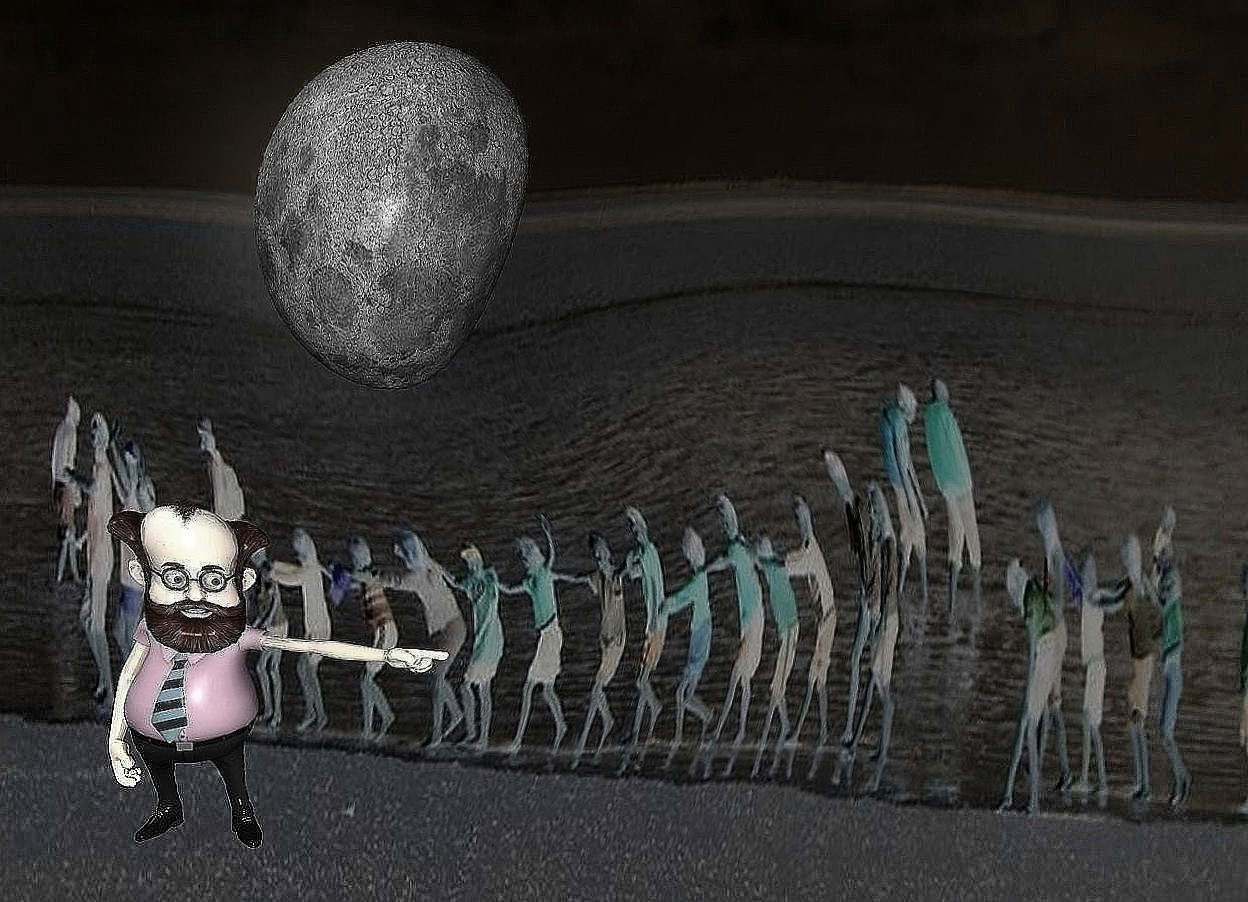 Input text: a [GN] backdrop.sky is gray.sun is gray.a 20 inch tall moon.the moon is facing east.a shiny 20 inch tall man is -45 inch above the moon.the man is 10 inch in front of the moon.