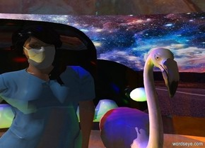 a 10 feet tall clear white log.a woman is behind the log.a 5 feet tall flamingo is right of the woman.the sky is fantasy.the sky is upside down.a lemon light is left of the woman.a green light is right of the flamingo.a blue light is above the woman.a rust light is in front of the flamingo.a car is 3 feet behind the flamingo.a red light is above the car.