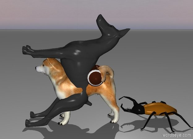 Input text: 1st dog leans 90 degrees to the back.  Ball is -1 feet behind 1st dog and -2 feet above 1st dog. a giant bug is behind the dog.