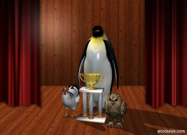 Input text: a trophy.the trophy's cup is gold.a 1st bird is left of the trophy.a 2nd bird is right of the trophy.a 3rd bird is behind the trophy.stage backdrop.